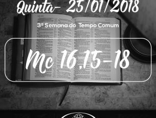 3ª Semana do Tempo Comum- 25/01/2018 (Mc 16,15-18)