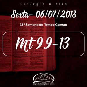 13ª Semana do Tempo Comum- 06/07/2018(Mt 9,9-13)