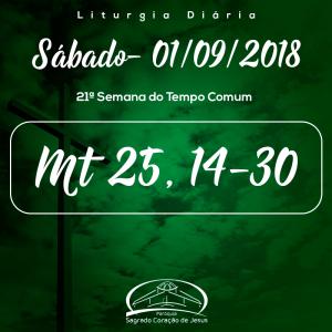 21ª Semana do Tempo Comum- 01/09/2018 (Mt 25,14-30)