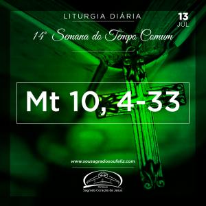 14ª Semana do Tempo Comum - Sábado- 13/07/2019 (Mt 10,24-33)