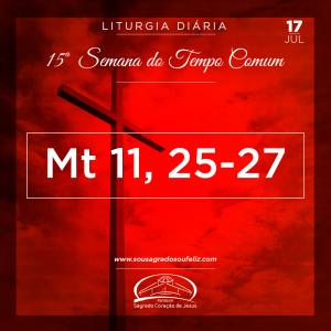 15ª Semana do Tempo - Quarta-feira- 17/07/2019 (Mt 11,25-27)